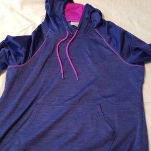 Purple sweat shirt.